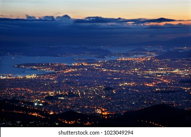 "ATHENS, GREECE. Panoramic night view of Athens and Piraeus from Hymettus (""Ymittos"") mountain."