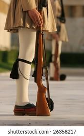 Athens Greece parliament guards legs