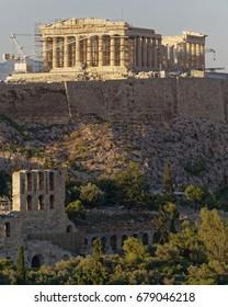 Athens Greece, Parthenon ancient temple on acropolis hill