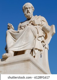 Athens Greece, Plato the philosopher statue on blue sky background