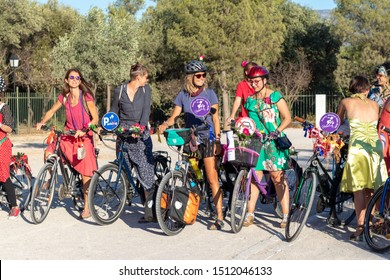 Athens, Greece - Sep 22, 2019: Fancy Women Bike Ride. Cycling event to support women's visibility in urban spaces, inspire more women to use bicycles in the cities and promote environmental awareness.