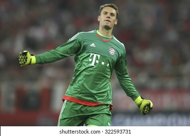 Athens, Greece- September 16, 2015: Manuel Neuer celebrates during the UEFA Champions League game between Olympiacos and Bayern, in Athens, Greece.