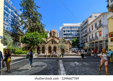 Athens, Greece - September 17 2018: The Church of Panagia Kapnikarea, the oldest church in Athens, located in the shopping district on Ermou Street.