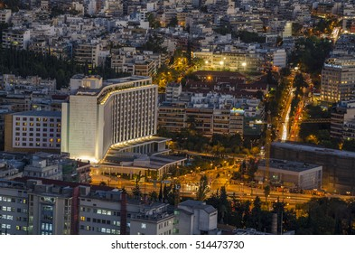 Athens, Greece - September 2015: The famous Hilton Hotel in Evangelismos. Central Athens - Greece.