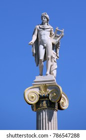 ATHENS, GREECE - SEPTEMBER 21, 2012: It is a column with a statue of the god Apollo near the Athens Academy.