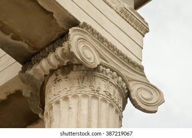 Athens, Greece - September 22, 2015: Caryatids, erechtheum temple on Acropolis