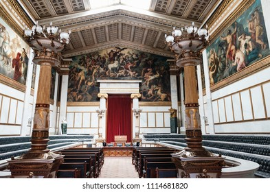 Athens, Greece - September 22, 2017: View of the interior of the Iconic neoclassic Academy of Athens, Athens historic center in Attica, Greece