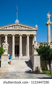 Athens, Greece - September 22, 2017: People visit and take photo of Academy of Athens, Athens historic center in Attica, Greece