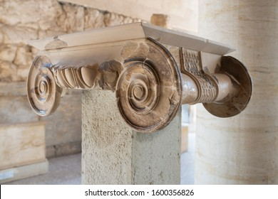 ATHENS, GREECE - SEPTEMBER 27, 2019:  Reconstructed Ionic capital detail, original to the Greeks and characterized by the volutes, in the Stoa of Attalos, ancient Agora of Athens, Greece.