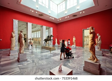 ATHENS, GREECE- September 6, 2015. One of the halls dedicated to ancient Greek sculpture in the National Archaeological Museum of Athens.