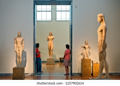 ATHENS, GREECE- September 6, 2015.Kouros statues in the National Archaeological Museum of Athens.