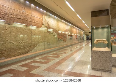 ATHENS, GREECE, SEPTEMBER 6, 2016: Exhibitions of ancient artifacts found during the construction of metro tunnels at Syntagma station of Athens Metro.