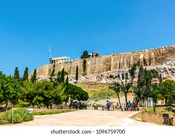 ATHENS, GREECE-6 JUNE 2017: The Odeon of Herodes Atticus is a stone theatre structure located on the southwest slope of the Acropolis of Athens, Greece.