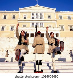 ATHENS, GREECE-AUGUST10: Evzoni Guard, Guardians in front of the Greek parliament building. August 10, 2016 Athens, Greece