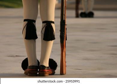 Athens Greek parliament guards legs