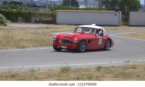 ATHENS, JUNE 10, 2018. Classic english car Austin-Healey 3000 MkI, of 1959, during a circuit run close to Athens, participating in the HERO Classic Marathon Rally, held in Greece from 10-16, June 2018