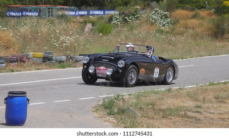 ATHENS, JUNE 10, 2018. Classic english car Austin-Healey 3000 BN7, of 1959, during a circuit run close to Athens, participating in the HERO Classic Marathon Rally, held in Greece from 10-16, June 2018