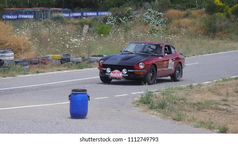 ATHENS, JUNE 10, 2018. Classic japanese car Datsun 240Z, of 1973, during a circuit run close to Athens, participating in the HERO Classic Marathon Rally, held in Greece from 10-16, June 2018