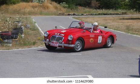 ATHENS, JUNE 10, 2018. Classic english car MG A TwinCam, of 1959, during a circuit run close to Athens, participating in the HERO Classic Marathon Rally, held in Greece from 10-16, June 2018