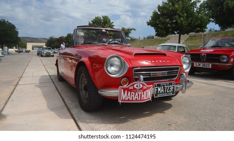 ATHENS, JUNE 10, 2018. Classic japanese car Datsun 2000 Roadster of 1968, at the start of HERO Classic Marathon Rally, held in Greece from 10-16, June 2018