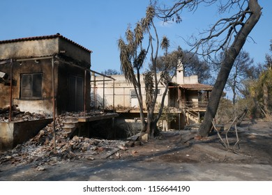 ATHENS, MATI / GREECE - JULI 25 2018: Burnt out house in Mati near Athens after the fire-tragic