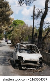 ATHENS, MATI / GREECE - JULY 25 2018: Burnt out car in a small village named Mati near Athens after the fire-tragic
