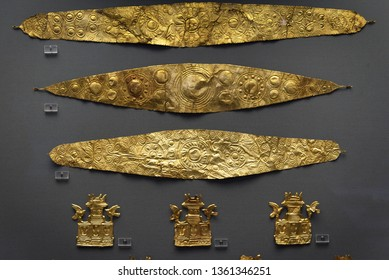 Athens - May 7, 2018: Jewellery from ancient Greek Mycenae, 16th century BC. Gold diadems and other precious objects in the National Archaeological Museum in Athens, Greece.