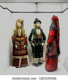 Athens: October 11th. Benaki Museum : Female National  19th century costumes from Ioannina in Greece on display,  October 11th, 2018 Athens, Greece.