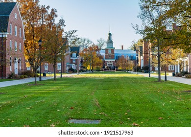 ATHENS, OH, USA - NOVEMBER 6: West Green and Stocker Center on November 6, 2020 at Ohio University in Athens, Ohio.