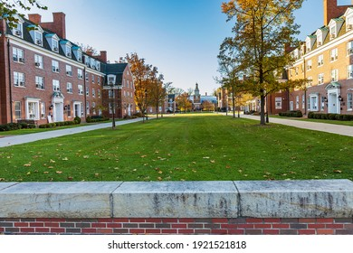 ATHENS, OH, USA - NOVEMBER 6: West Green, James Hall, Sargent Hall and Stocker Center on November 6, 2020 at Ohio University in Athens, Ohio.