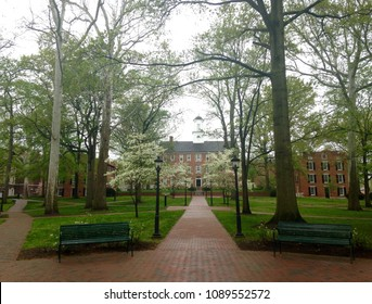 Athens, Ohio, USA, May 4, 2018. The College Green on the campus of Ohio University is seen on the day of graduation commencement exercises.