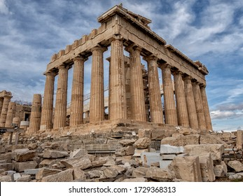 Athens, old city view of ancient ruins. Greece. Architecture detail of ancient temple,
