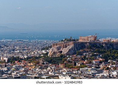 Athens  panoramic view Greece, Parthenon on Acropolis hill northern part