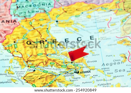 Athens Pinned On Map Europe Stock Photo Edit Now 254920849