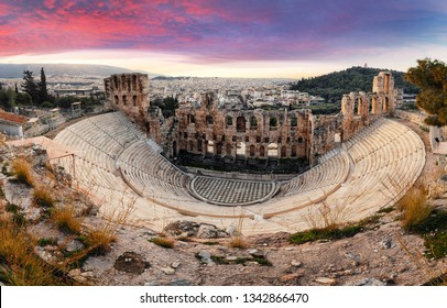 Athens - Ruins of ancient theater of Herodion Atticus in Acropolis, Greece