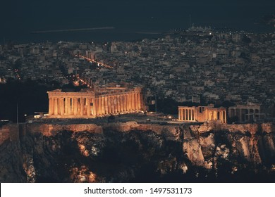 Athens skyline at night viewed from Mt Lykavitos with Acropolis, Greece.