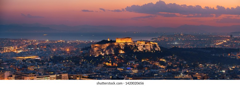 Athens skyline panorama viewed from Mt Lykavitos with Acropolis, Greece.