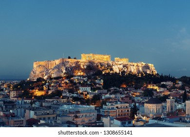 Athens skyline rooftop view at night, Greece.