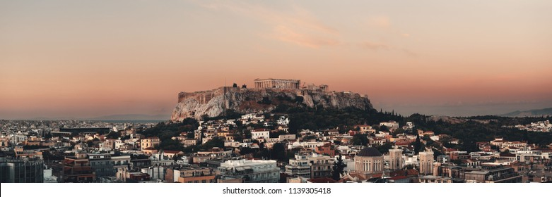Athens skyline rooftop view panorama sunset, Greece.