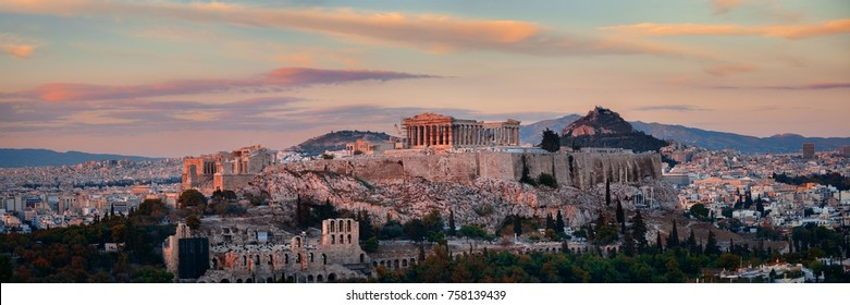 Athens skyline sunrise panorama viewed from mountain top, Greece.