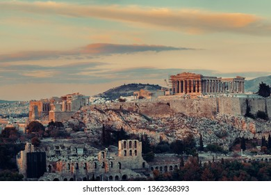 Athens skyline sunrise viewed from mountain top, Greece.