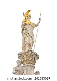 athens statue in vienna  parliament, isolated, austria