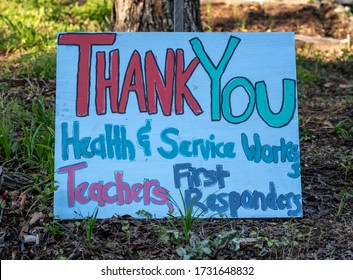 Athens, United States: April 11, 2020: Thank You Sign for essential workers
