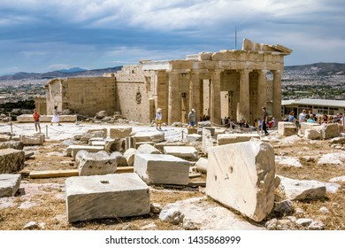 Athens.Greece.May 31, 2019. The Propylaea on the Acropolis hill in Athens, Greece.
