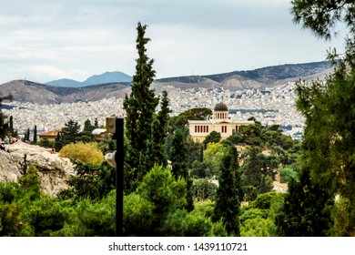Athens.Greece.May 31, 2019. View from the Acropolis hill to the houses and roofs of Athens in Greece.