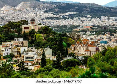 Athens.Greece.May 31, 2019. View from the Acropolis hill to the houses and church of Athens in Greece.