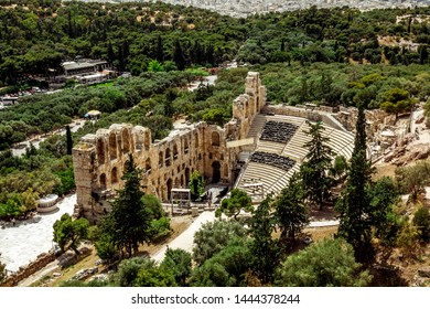 Athens.Greece.May 31, 2019. View of the Amphitheatre - the Odeon of Herodes Atticus at the Acropolis in Athens.