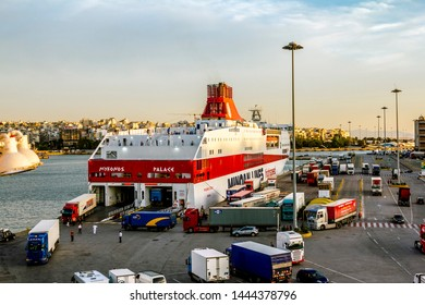 Athens.Greece.May 31, 2019. View from the deck of the ferry to the port of Piraeus in Athens at sunset.