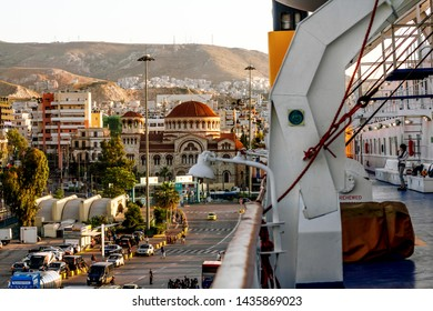 Athens.Greece.May 31, 2019. View of the port of Piraeus and the Church of the Holy Trinity from the deck of the ferry .