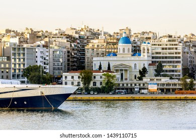 Athens.Greece.May 31, 2019. View of the port of Piraeus and the Church of St. Nicholas in Athens in Greece.